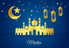 Illustrazione vettoriale di Eid Mubarak islamico vacanza cartolina d'auguri design