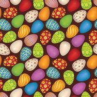 Le uova di Pasqua firmano il modello senza cuciture. Sfondo cartolina d'auguri di Pasqua vettore