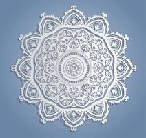 Decorazione di pizzo bianco di vettore, Centrino di pizzo rotondo, ornamento del cerchio di carta del ritaglio vettore
