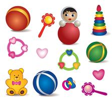 Giocattoli per bambini isolati. Set di icone del giocattolo. Collezione di segno del gioco di cura del bambino vettore