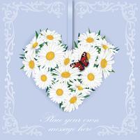 Bouquet di fiori. Cornice cuore floreale Biglietto di auguri estivo fiorito.
