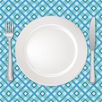 Impostazione della tabella impostata. Forchetta, coltello, cucchiaio, piatto. Servizio di posate Segno di catering