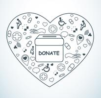 donare, beneficenza per la medicina e la salute sul vettore a forma di cuore