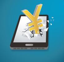 Icona di yen dollar sfondare il vettore dello smartphone dello schermo