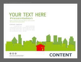 Modello di progettazione di presentazione, edifici della città e il concetto di immobile.