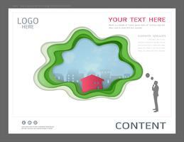 Modello di progettazione di layout di presentazione per il concetto di immobili commerciali.