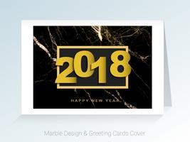 2018 concetto del buon anno, simboli dell'inizio e della celebrazione, fondo di vettore delle cartoline d'auguri di marmo.