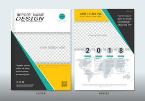 Copre il design con lo spazio per lo sfondo di foto.