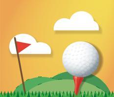 Sfera di golf sulla terra e sul vettore della priorità bassa della bandiera rossa