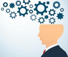 la testa laterale dell'uomo d'affari con gli ingranaggi vector la priorità bassa
