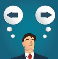 uomo d'affari tenta di prendere una decisione, vettore a destra o sinistra