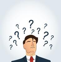 Uomo d'affari con il punto interrogativo. prendere il concetto di decisione