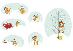 Confezione regalo di Natale animali tag vettore