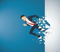 Running Businessman Rompere il muro verso il successo. Illustrazione del concetto di business