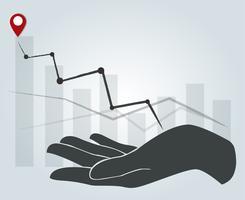 grande mano che tiene alto grafico, priorità bassa di concetto di affari