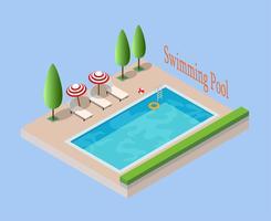 illustrazione vettoriale piscina isometrica - vacanza di concetto