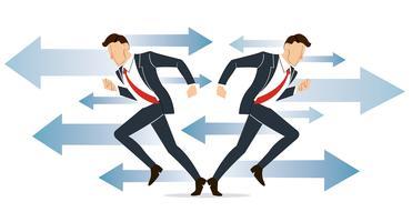l'uomo d'affari deve decidere quale strada prendere per il suo successo