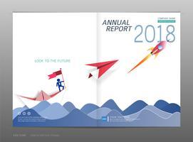 Coprire la relazione annuale di progettazione, la leadership e il concetto di avvio. vettore