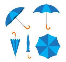 L'illustrazione di vettore del vettore blu dell'ombrello ha messo su fondo bianco