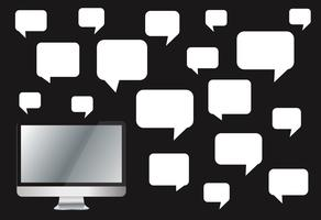 computer con casella di chat colorata, sfondo di comunicazione casella di messaggio