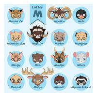 Alfabeto di ritratto animale - lettera m vettore