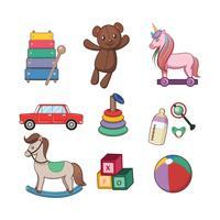 Collezione di giocattoli per bambini vettore