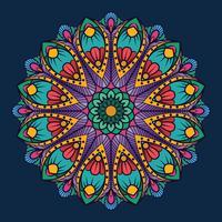 Mandala ornamentale su sfondo blu scuro