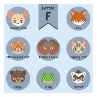 Alfabeto animale ritratto - Lettera F vettore