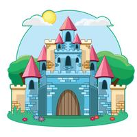 Illustrazione del castello di cartone animato