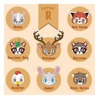 Collezione di animali con la lettera r