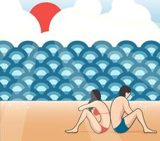 coppia sulla spiaggia fumetto vettoriale, uomo e donna sulla spiaggia