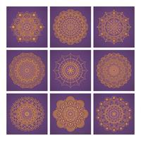 Collezione di mandala su sfondo viola vettore