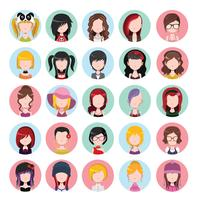 Icone delle donne colorate piatte