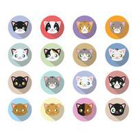 16 icone della testa del gattino con una lunga ombra