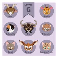Alfabeto animale ritratto - Lettera G vettore