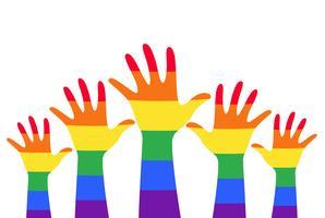mani in alto colorato arcobaleno bandiera simbolo vettoriale