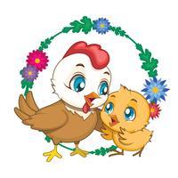 Illustrazione di gallina e pulcino con sfondo di fiori (per Pasqua, festa della mamma ecc.)