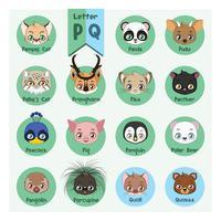 Alfabeto di ritratto animale - Lettera P e Q vettore