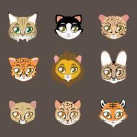 Stampa di gatti diversi vettore
