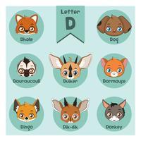 Alfabeto di ritratto animale - lettera D vettore