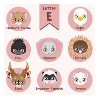 Alfabeto di ritratto animale - lettera E vettore