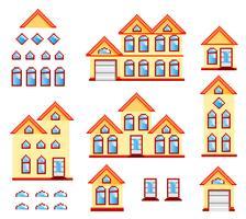 case di pixel art vettore