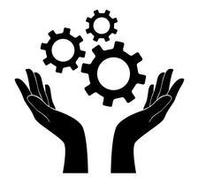 mano che tiene attrezzi, ingegnere simbolo vettore