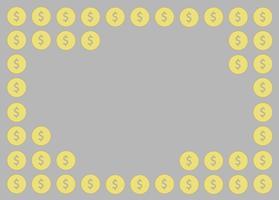 moneta, disegno di denaro e vettore di sfondo dello spazio