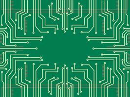 fondo astratto di simbolo della tecnologia della linea del microchip vettore