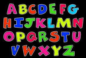 Alfabeti in stile neon per bambini vettore