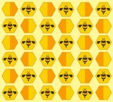 sfondo di cartone animato pastello di ape hive vettore