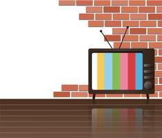 Parete dei mattoni e del vettore di arte del fondo dello spazio della televisione