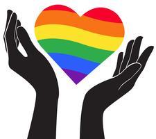mano che tiene il cuore arcobaleno bandiera LGBT simbolo vettoriale EPS10