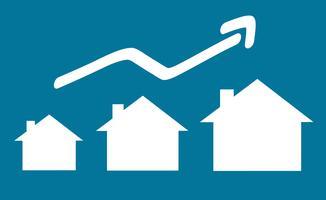 Illustrazione vettoriale di casa con freccia in crescita